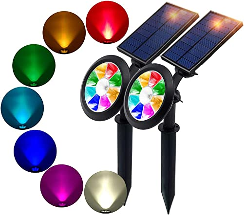 BOHON Solar Lights Outdoor – Ultra Bright, Waterproof, 9 LEDs Multi Color Spot Light with Auto On Off, Solar Garden Light for Landscape Lighting Yard Patio Pathway Changing Fixed Color 2Pack