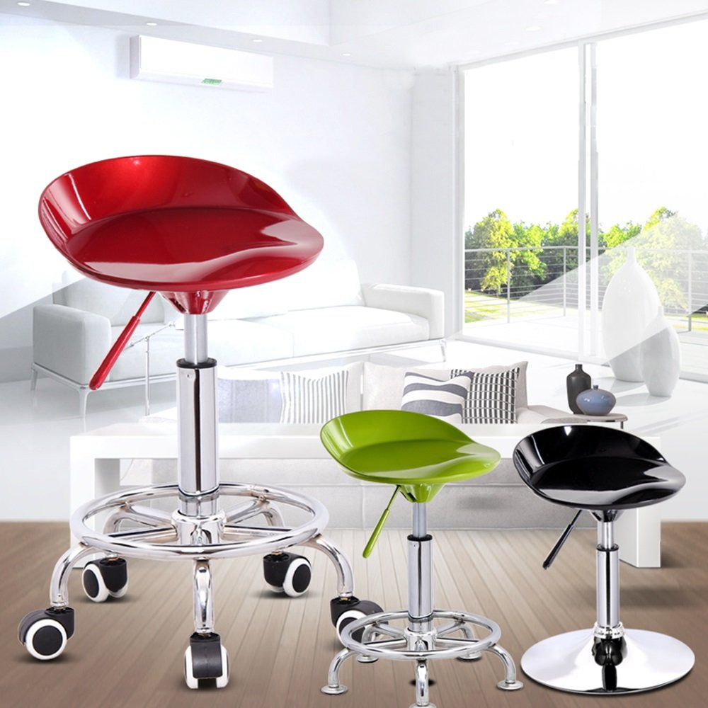 ABS paint material, front up and down bars, fashion stool chairs, European bar stool, bar backrest chair ( Color : Red-B , Style : Pulley type )