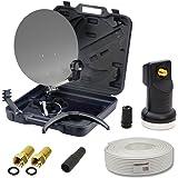 PremiumX Camping SAT Koffer Schüssel inkl. Digital Single LNB 0,1dB + 10m Kabel mit F-Stecker und Gummitülle