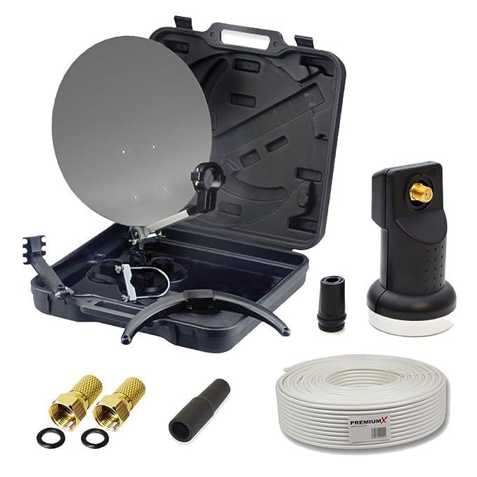 PremiumX HD Camping-Sat-Anlage im Koffer Schüssel mit Digital Single LNB 0,1dB inkl. 10m Koaxial Kabel und 2X F-Stecker mit D