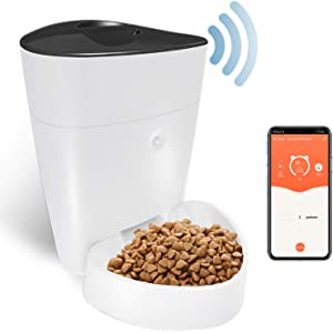 OWON Automatic Cat Feeder, Dog Food Dispenser with App Control , Programmable Portion Control 1-6 Meals Per Day, 2.4G Wi-Fi Enabled Smart Pet Feeder, Dog Food Storage, 4 L Automatic Dog Feeder