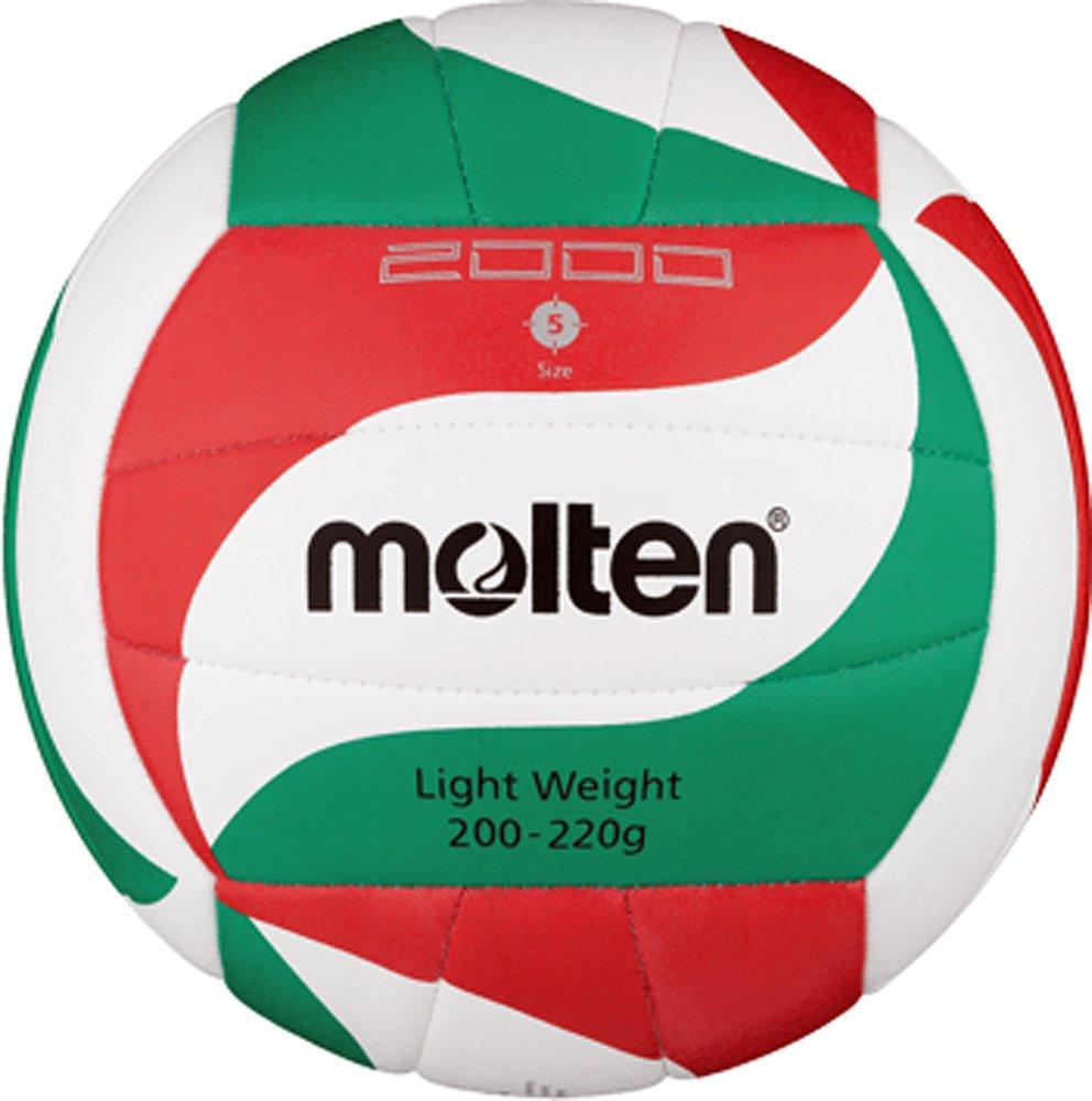 Top Leicht-Trainingsball, sehr weiches Synthetik-Leder, maschinengenährt - Farbe: Weiß/Grün/Rot, Größe: 5 Größe: 5 molten