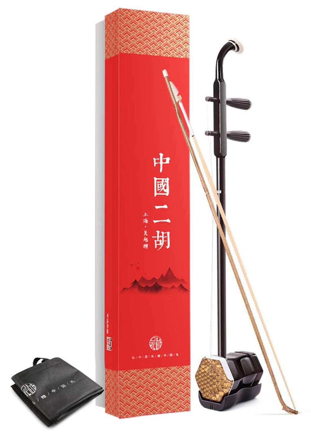 WuYue Chinese 2 Strings Violin Traditional National Instruments Erhu Phoneme Mark for Entry Level Brown Tracery with Bag