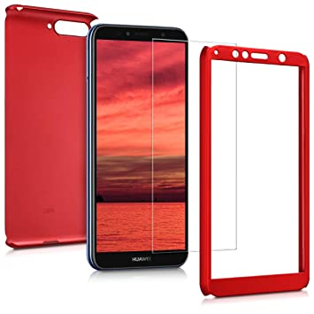 kwmobile Funda para Huawei Y6 (2018) - Carcasa protectora completa con cristal templado - Cover con protector de pantalla duro