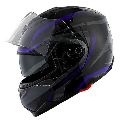 8beaf387 Amazon.com: 1Storm Motorcycle Street Bike Modular/Flip up Dual Visor/Sun  Shield Full Face Helmet Storm Tron Purple: Automotive