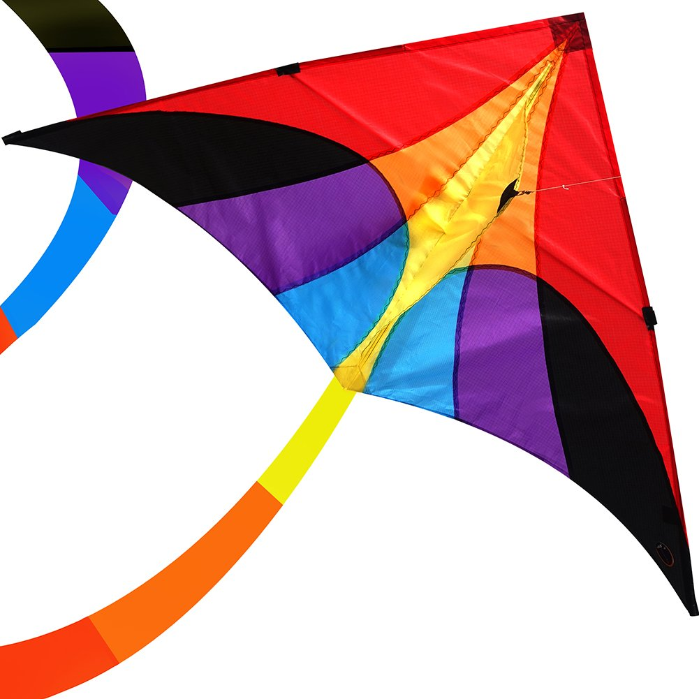 emma kites Reverie 60in Delta Kite Rainbow for Beginner Kids Adults Easy to Fly - RTF Kit including Kite Tail & 320ft Kite String - for Spring Breeze, Outdoor Games Activities by emma kites