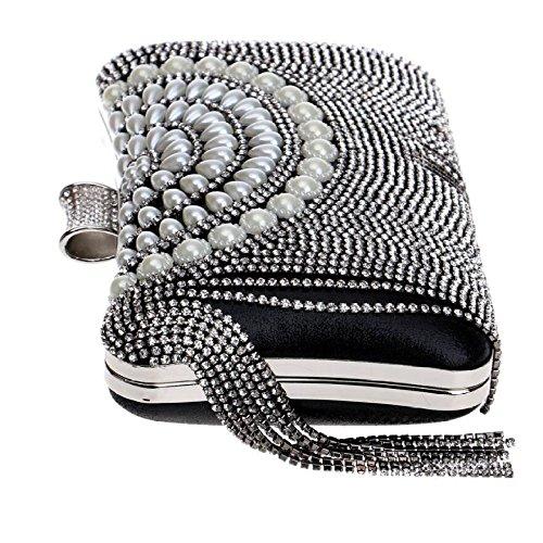 Sac Antique Femmes Prom Glitter Diamante Sac Clubs Black Pour Gland Perle à Soirée De Nuptiale Main Party À Mariage À Bandoulière Pochette Main Cadeau Dames Sac 77rwq51
