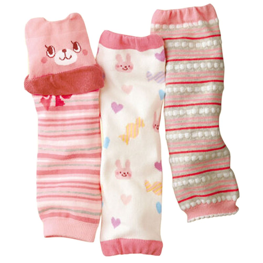 Trendy PINK Cartoon Baby Girl Leg Wamers Comfy Leg Guards for Height 27-39