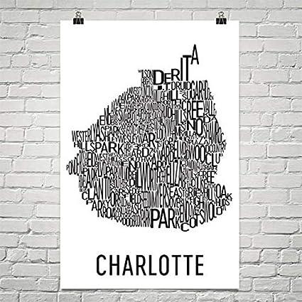 Charlotte Neighborhood Map Amazon.com: Modern Map Art Charlotte NC Typography Neighborhood