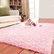 LOCHAS Ultra Soft Indoor Area Rugs Fluffy Living Room Carpets Suitable for Children Bedroom Home Decor Nursery Rugs 4 Feet by 5.3 Feet (Pink)
