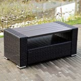 WALCUT Wicker coffee Table with Storage Outdoor Patio Garden Backyard Furniture, dark brown