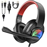 bopmen USB Gaming Headset - PS4 Headphones with Mic & RGB Light, Wired Over Ear Gaming 3.5mm Headphones Compatible with PC, P