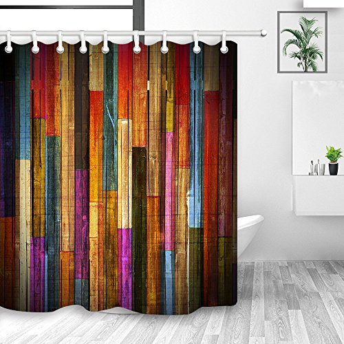 NYMB Colorful Wooden Wallpaper Shower Curtains, Grunge Rustic Planks Barn House Wood Art Print, Polyester Fabric Waterproof Shower Curtain, Bathroom Accessory Sets, Hooks Included, 70X70in