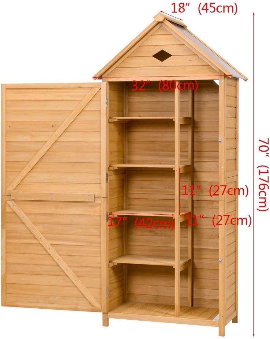 COSTWAY Cobertizo de Jard/ín Caseta de Herramientas Gabinete de Madera 176 x 70 x 35,5cm con Estantes Compartimiento de Almacenaje