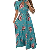 Women Dresses Floral Printed Cocktail Party Evening Maxi Dress Beach Sundress for Summer