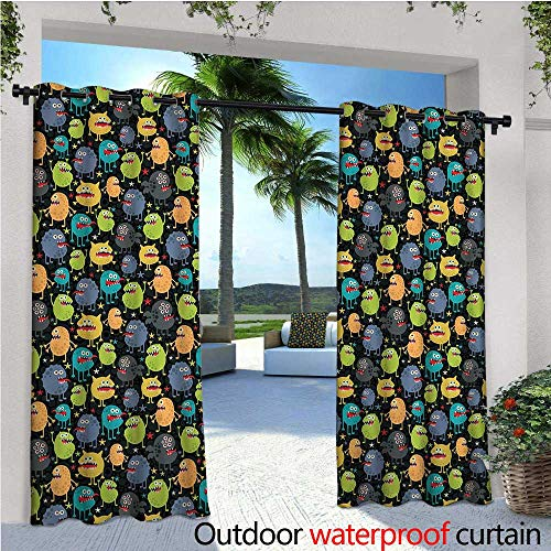 cobeDecor Alien Balcony Curtains Cute Funny Characters Cartoon Style Halloween Themed Monsters Abstract Background Outdoor Patio Curtains Waterproof with Grommets W96 x L84 -