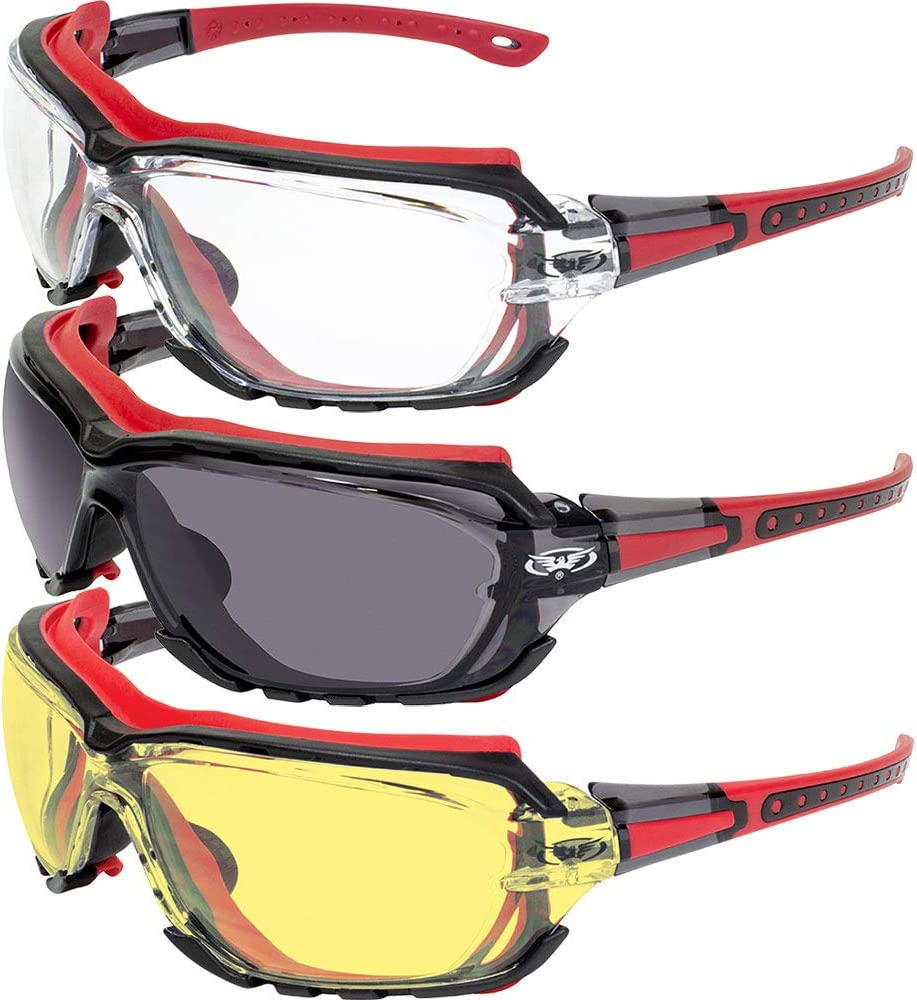 3 Pair of Global Vision Octane Padded Motorcycle Sport Sunglasses Octane Red with Clear Smoke and Yellow Lens