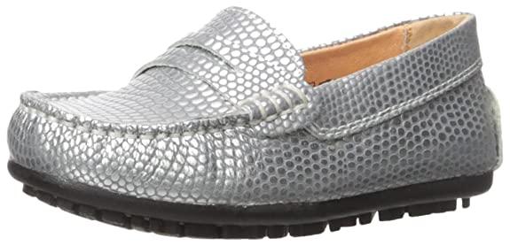 Umi Kid's Mariel Metallic Loafer, Silver, 30 M EU/12 M US Little Kid