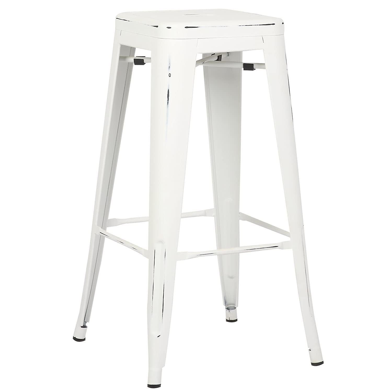 Peachy Poly And Bark Trattoria 30 Inch Counter Height Industrial Metal Bar Stool Stackable Distressed White Creativecarmelina Interior Chair Design Creativecarmelinacom