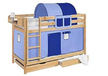 Etagenbett Mit Richtigem Lattenrost : Lilokids etagenbett jelle blau spielbett natur mit vorhang und