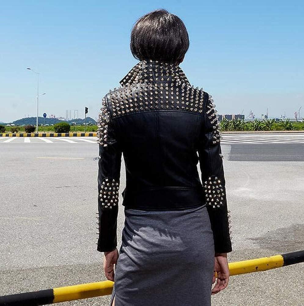 Cappotto Giacca da Donna in Pelle Tomaia Taglio Stretto Rivetti Taglia Completi alla Moda Cappotto di Transizione Moda 2019 Abbigliamento Donna Schwarz