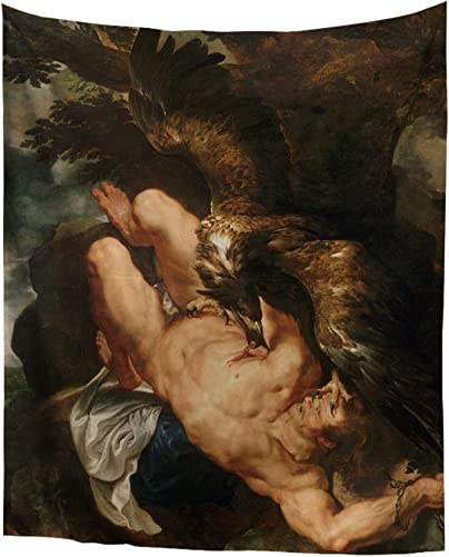Greek Mythology Classic Art Masterpiece Tapestry Series Peter Paul Rubens Prometheus Bound Classical Art Tapestry Wall-Hanging Antique Vintage Collection Home D cor