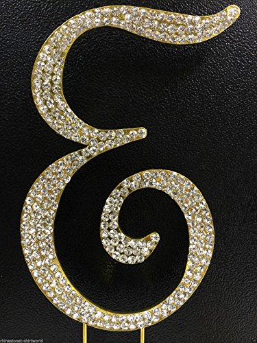 - Crystal Rhinestone Covered Gold Monogram Wedding Cake Topper Letter E