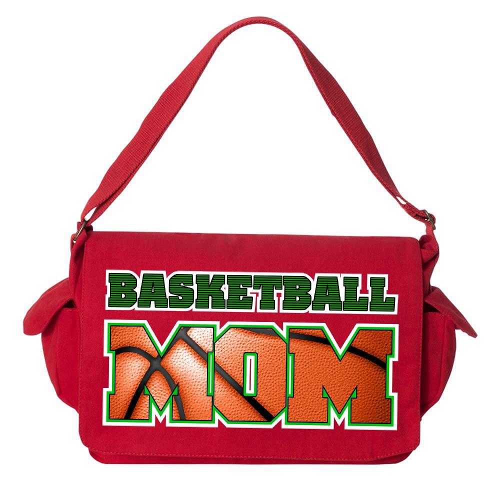 Tenacitee Basketball Mom Ball Cutout Flamingo Raw Edge Canvas Messenger Bag