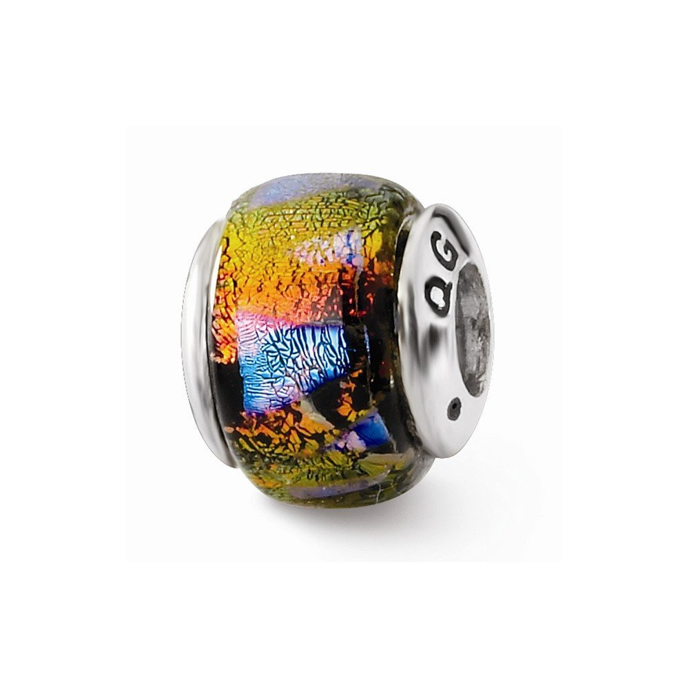 Sterling Silver Reflections Orange Dichroic Glass Bead