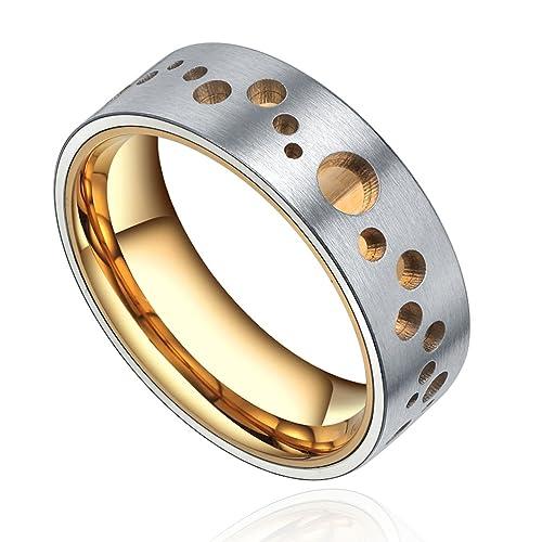 Acero inoxidable de dos tonos de oro anillo de matrimonio (oro y plata)