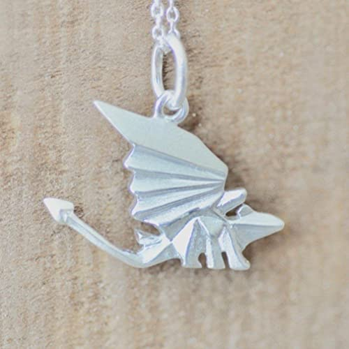 Amazon Origami Dragon Necklace In Sterling Silver With 18