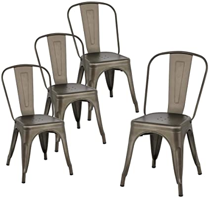 Yaheetech Metal Dining Chairs Set Of 4 Stackable Room Side With Back