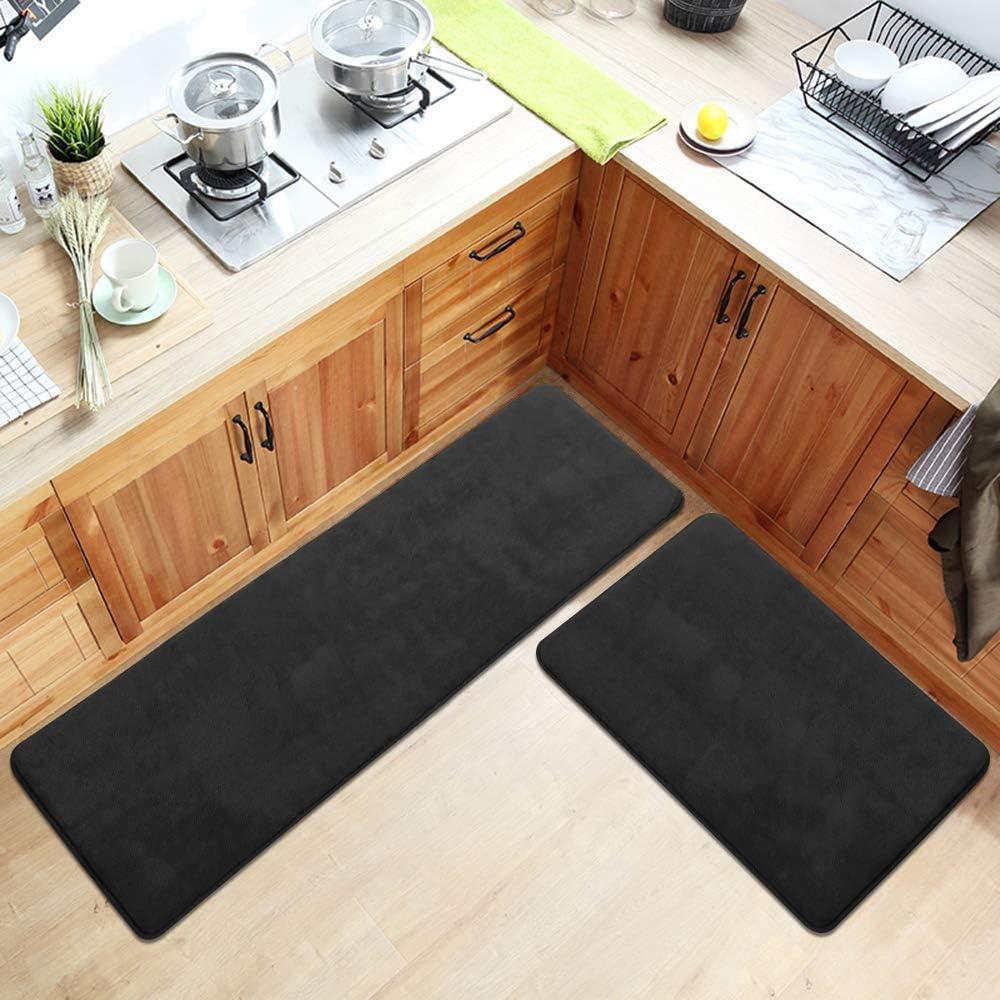 "Kitchen Rug Set, LEEVAN Memory Foam Kitchen Comfort Mats 2 Pieces 18""x23""+18""x47"" Super Soft Rug Microfiber Flannel Area Runner Rugs Non-Slip Backing Washable Bathroom Rug Set"