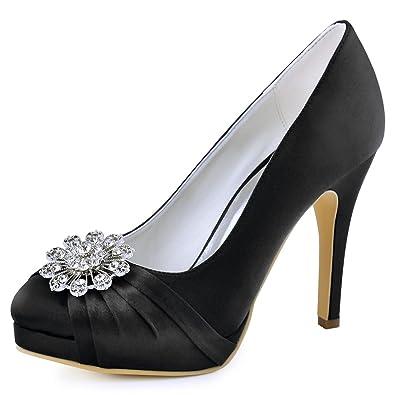 879dc93865 ElegantPark EP2015-NW Women High Heel Platform Pumps Closed Toe Buckle  Satin Dress Wedding Shoes