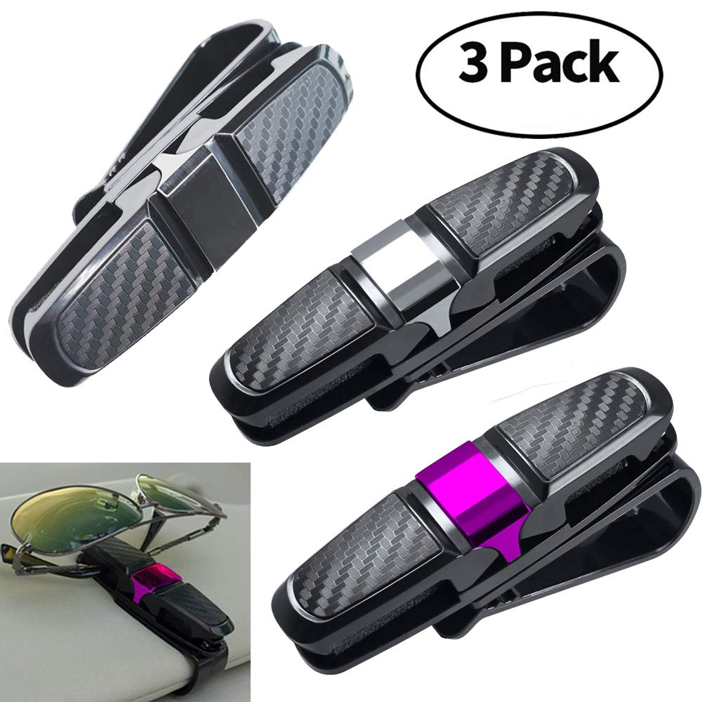 3 Pack Sunglass Visor Clip Holder for Car Double-Ends Eyeglasses Clip Hanger Mount 180° Rotational Car Glasses Holder with Ticket Card Clip (3) Bomach