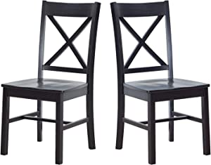 "Amazon Brand – Ravenna Home Solid Pine Dining Chair with Cutout Back, 38""H, Black Finish, Set of 2"