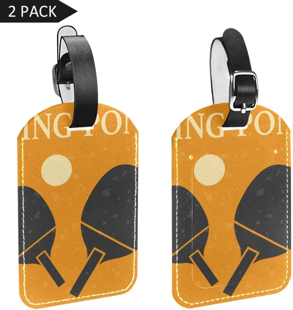 Etiquetas de Piel sintética para Maletas de Equipaje con Tapa Trasera de privacidad (2 Unidades), diseño Retro Deportivo con Iconos de Ping-Pong