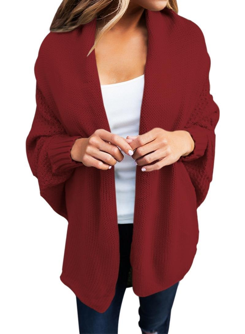 Dearlove Women's Casual Long Dolman Sleeve Draped Open Front Cozy Loose Knit Cardigan Sweaters Oversized Outwear Coat Wine S 4 6