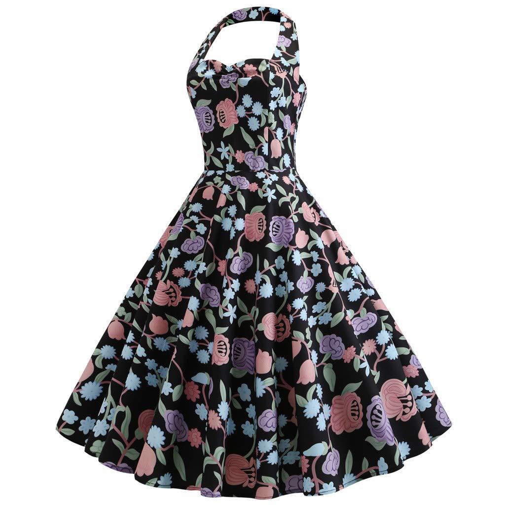 Women's Vintage Polka Halter Dress Floral Sping Retro Rockabilly Cocktail Dress Black