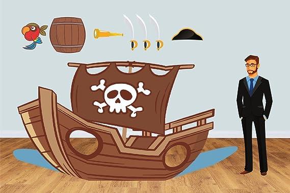 Photocall Barco Pirata 2,95x1,55m | Photocall Infantil con Accesorios de Regalo | Resistente, Original y con las Ventanas Troqueladas | Photocall Eventos ...