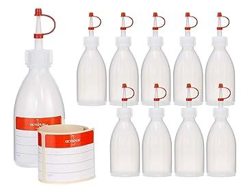 10x Botellas de plástico de 100 ml de LDPE, natural, G18, tapón de