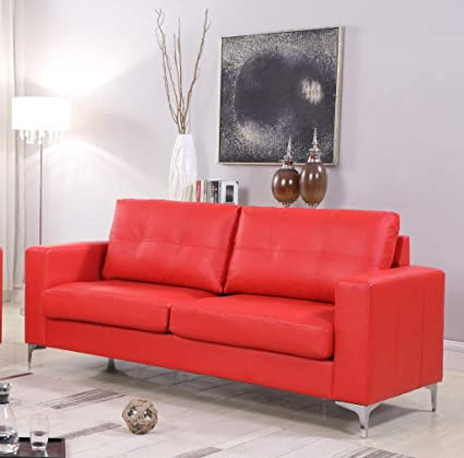 Amazon.com: GTU Furniture Red Contemporary Leather Sofa with Chrome ...