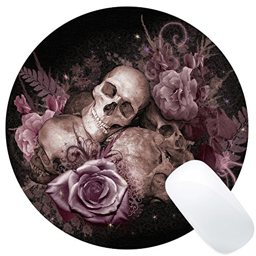 Wknoon Pink Rose Skull Design Round Gaming Mouse (Skull Mouse Pad)