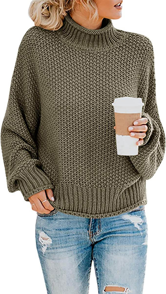 Beautife Womens Plus Size Turtleneck Sweater Baggy Chunky Batwing Long Sleeve Cable Knit Pullover Jumper Top
