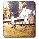 3dRose Scenes from the Past Vintage Stereoview Cards - Blacks Hotel Yosemite Valley Mariposa County 1880s Vintage Stereoview - Light Switch Covers - double toggle switch (lsp_269970_2)
