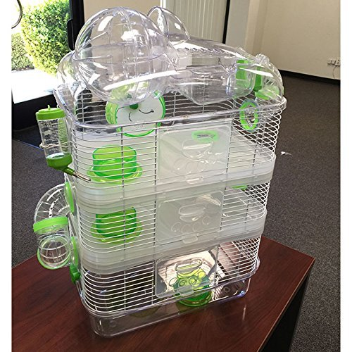 """4 Level Sparkle Hamster Mice Mouse Cage with Large Top Exercise Ball 25"""" Height"""