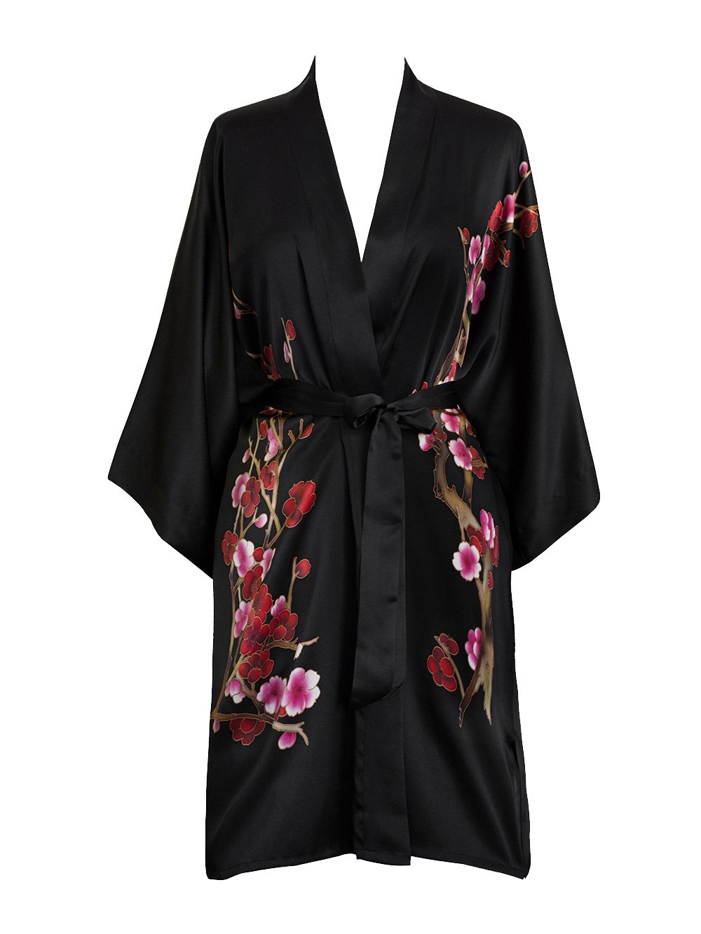 Old Shanghai Women's Silk Kimono Short Robe - Handpainted (Cherry Blossom Black)