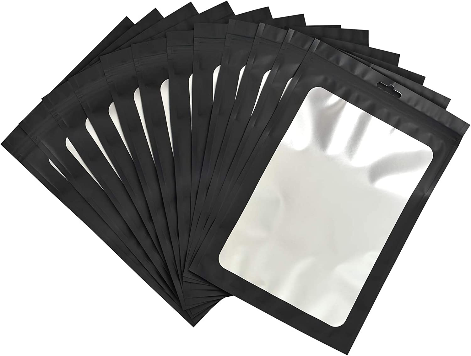 Black White back Flat Pouch with Ziplock for sample One side Clear front