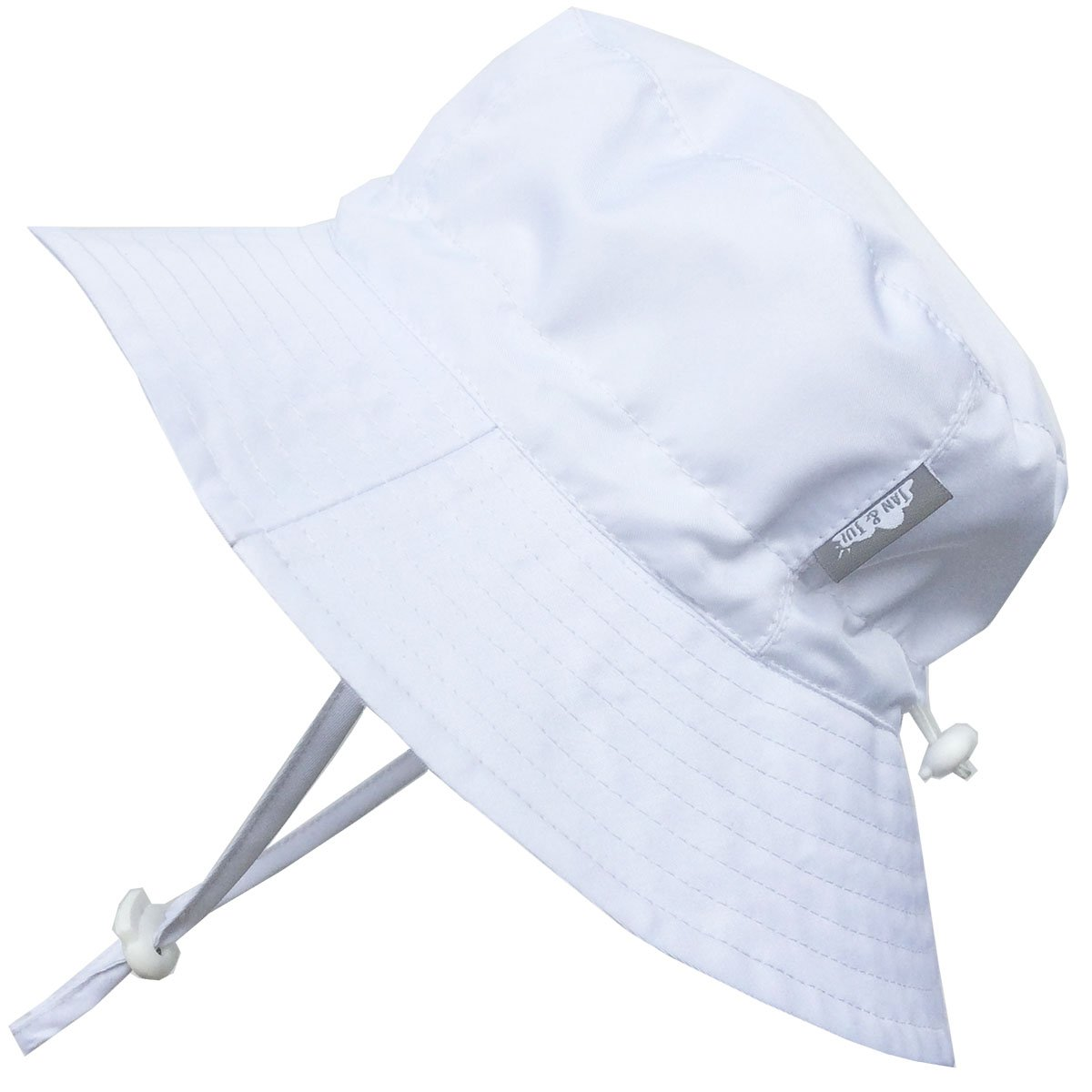 Baby 50+ UPF Bucket Sun Hat, Size Adjustable Aqua Dry ( S: 0 - 6m, White ) 14-59S