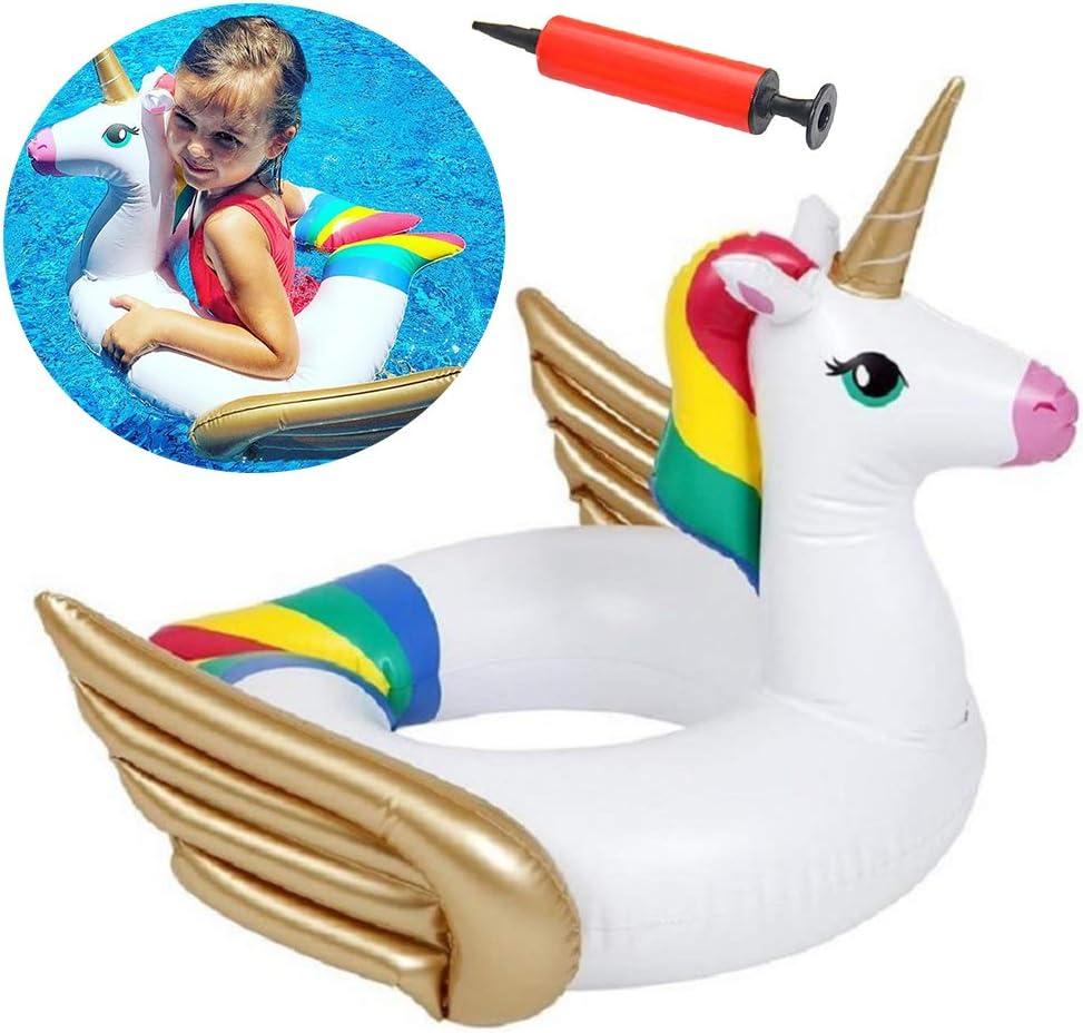 BESLIME Hinchable Unicornio Unicornio Anillo De Natación, Conveniente para la Fiesta Piscina de Playa de Verano Adultos y Niños, 60cm. con Tubo Inflable: Amazon.es: Hogar